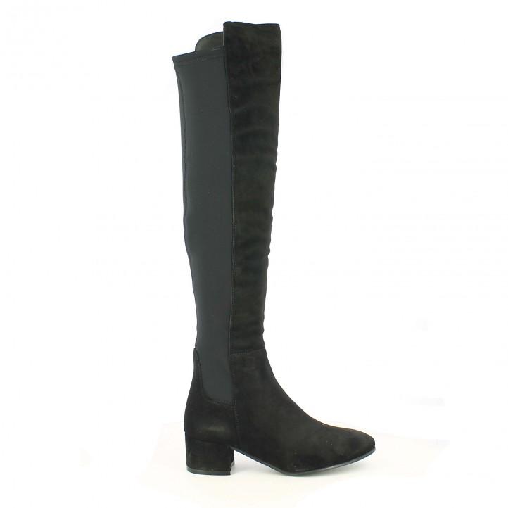 botas tacón redlove mosqueteras de piel negras