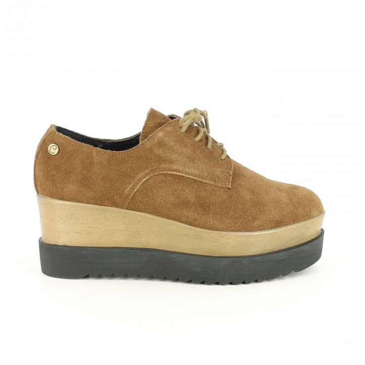 zapatos planos carmela bluchers marrones con doble plataforma