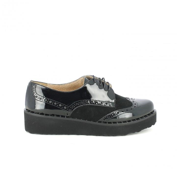 zapatos planos redlove bluchers negros de piel