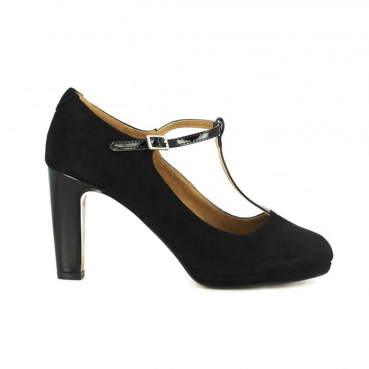 zapatos tacón maria mare t-strap negros