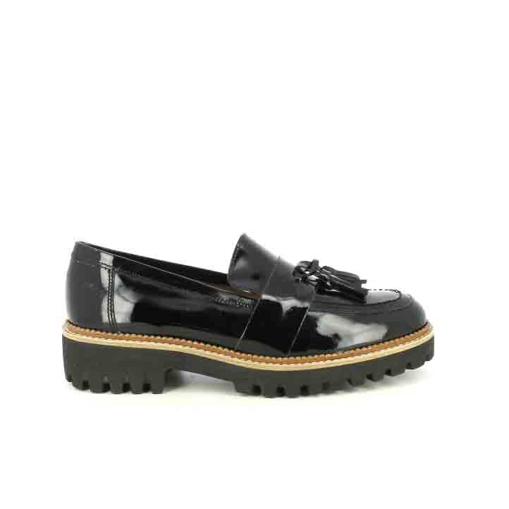 zapatos tacón redlove mocasines negros de charol