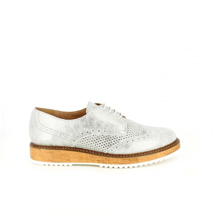 zapatos planos redlove bluchers plateados con brogue