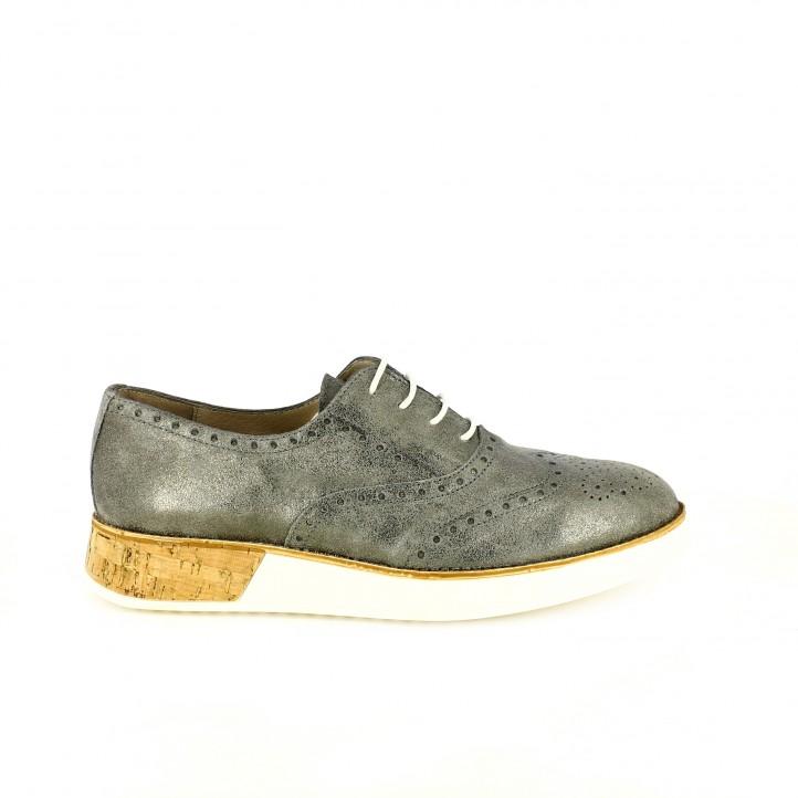 zapatos planos wonders oxford plateados de piel