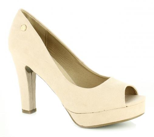 zapatos tacon peep toe color piel - querol online