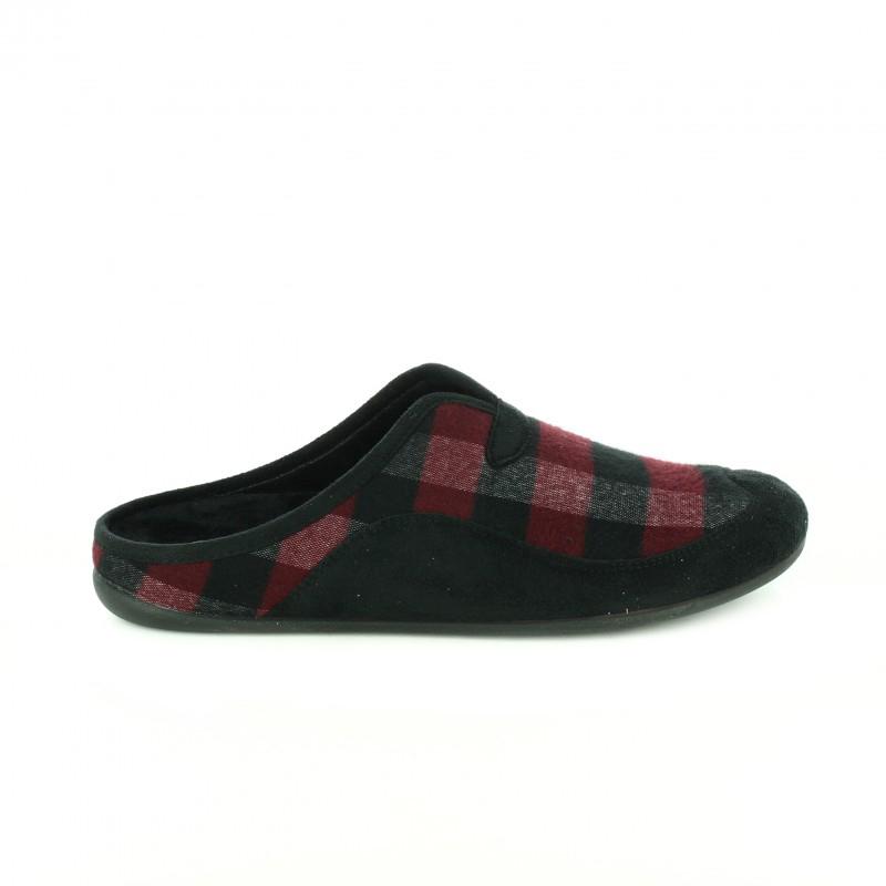 zapatillas casa cuadros burdeos y negros para hombre - querol online