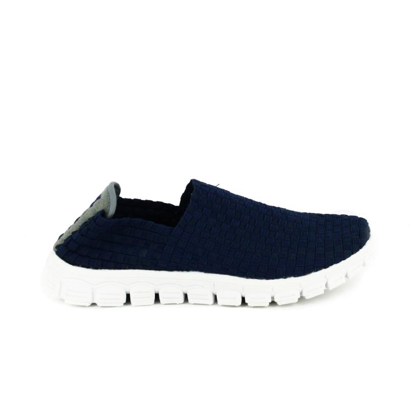 zapatillas deportivas trenzadas cerradas azules - querol online