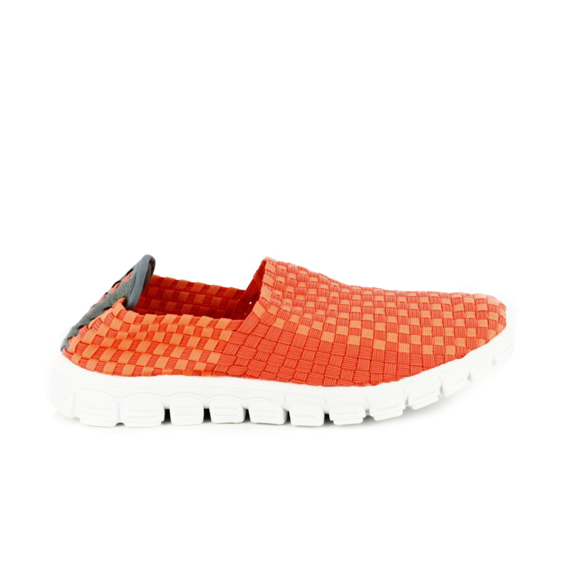 zapatillas deportivas trenzadas cerradas naranja - querol online