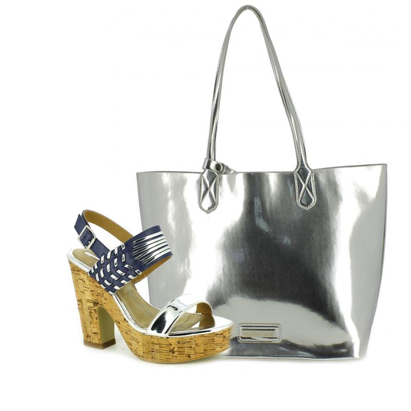 sandalias tacon y bolso plateado maria mare - querol online