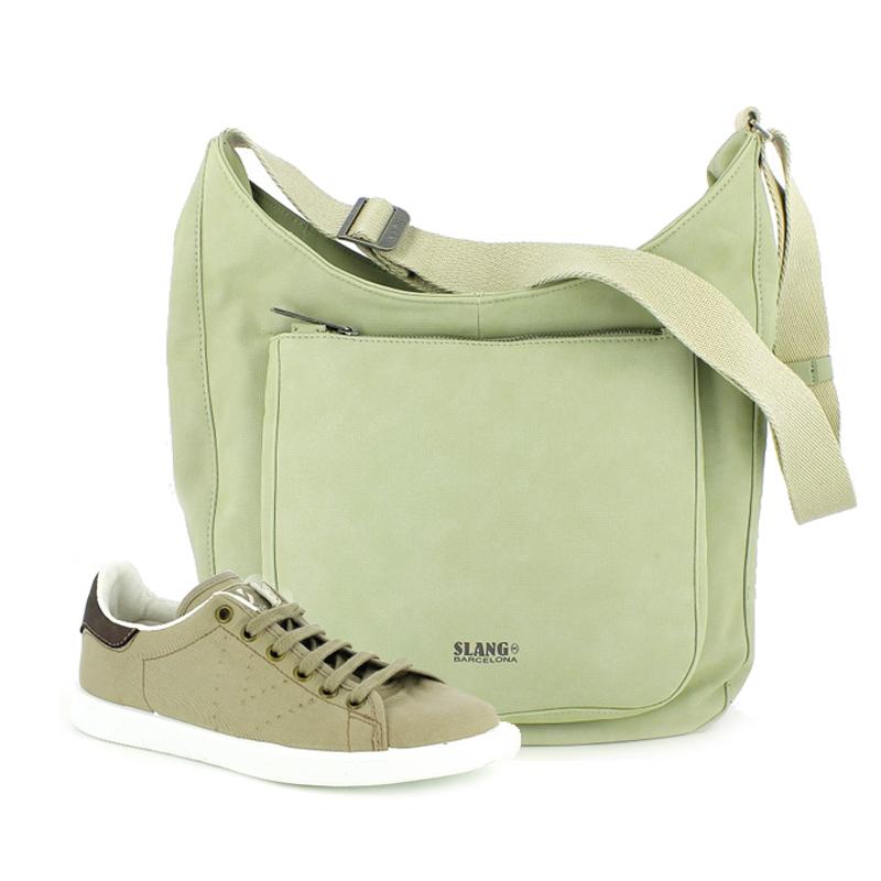 conjunto bambas y bolso slang verde - querol online