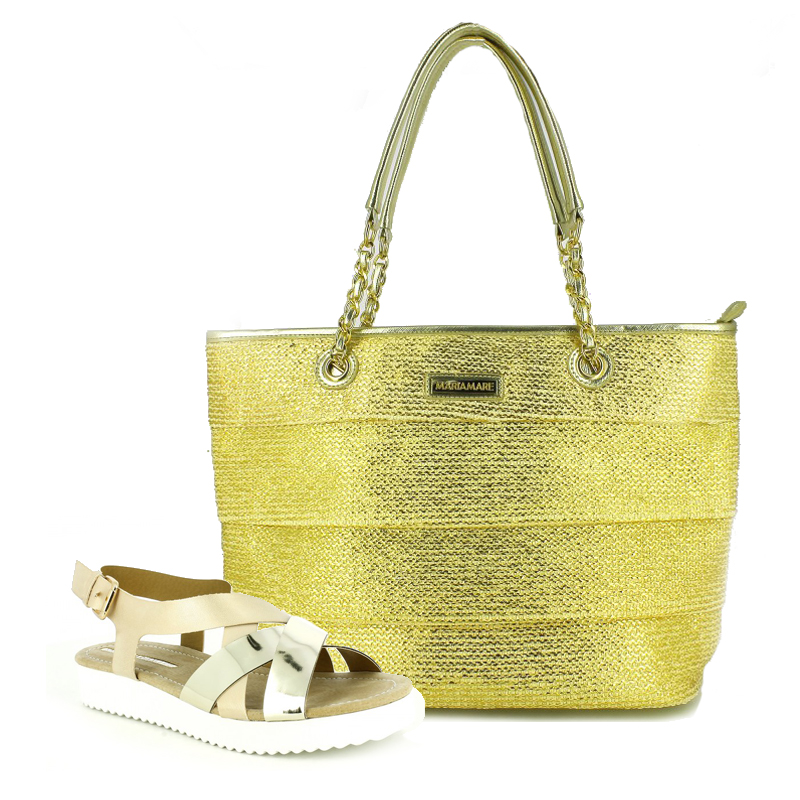 conjunto sandalias planas y bolso dorado maria mare - querol online