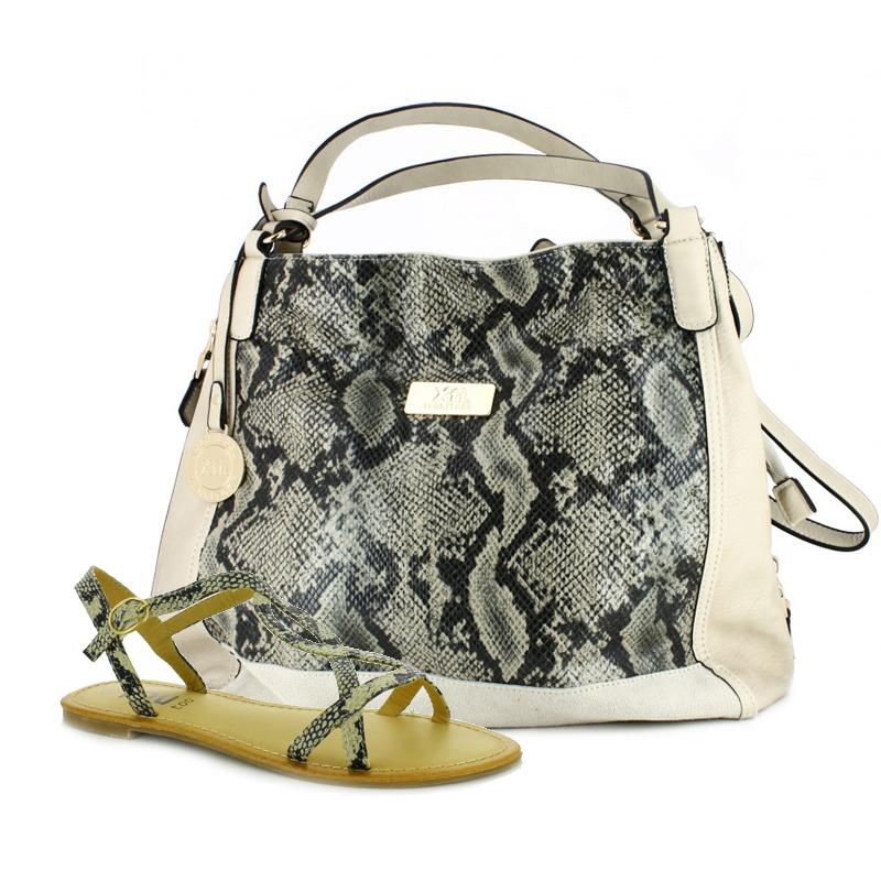 sandalias planas y bolso XTI animal print serpiente - querol online