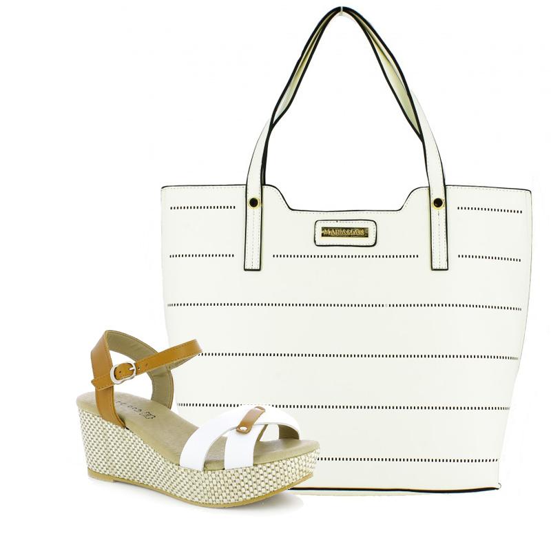 sandalias de plataforma y bolso maria mare blanco - querol online