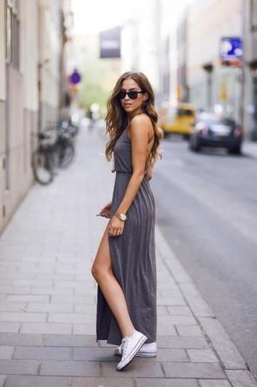 Vestido largo con converse