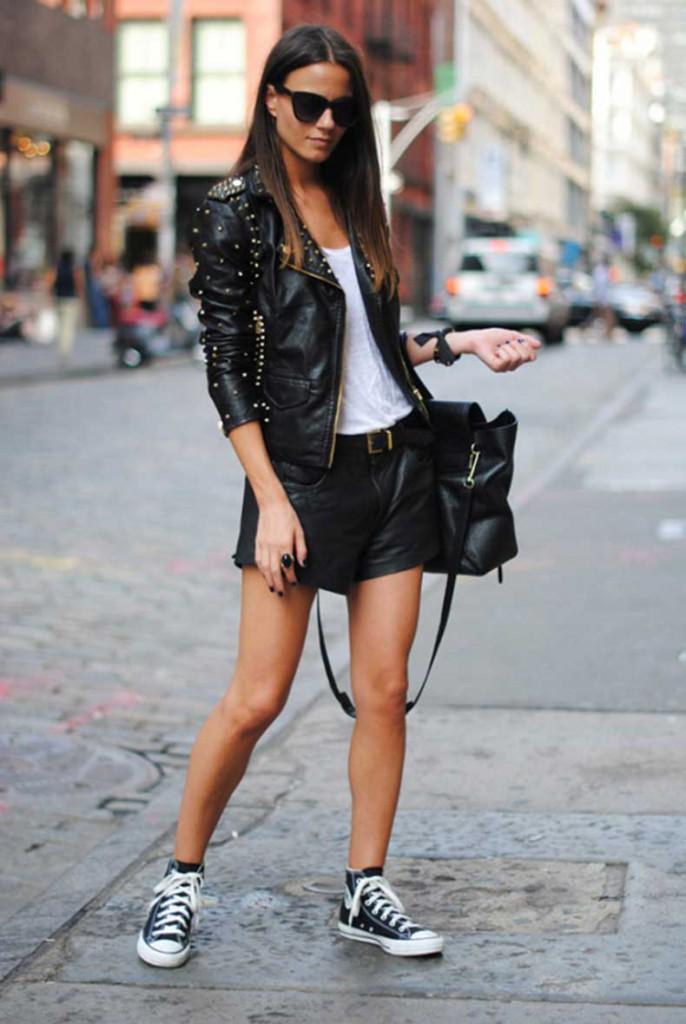 zapatillas converse negras con chaqueta de cuero - querol online