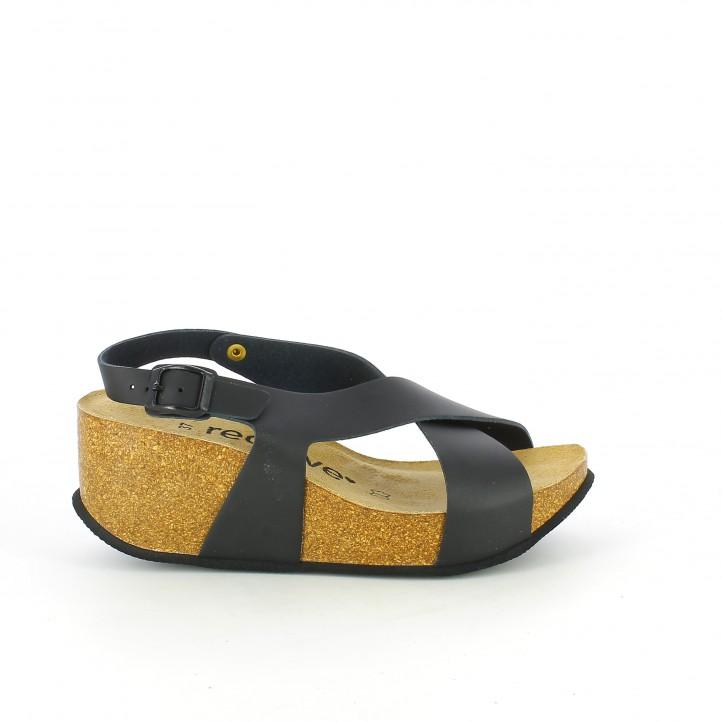 sandalias bio - cunas-redlove-negras-cruzadas-de-piel