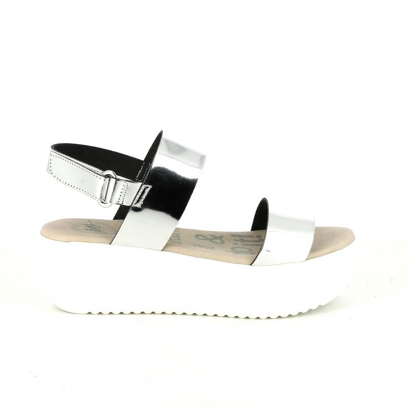 sandalias tira plateada