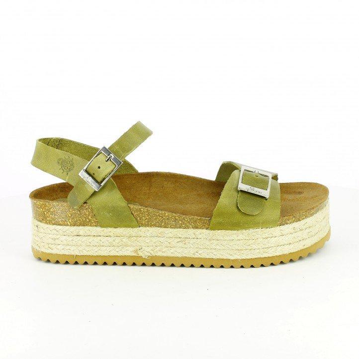 sandalias bio - plataformas-yokono-verdes-de-piel