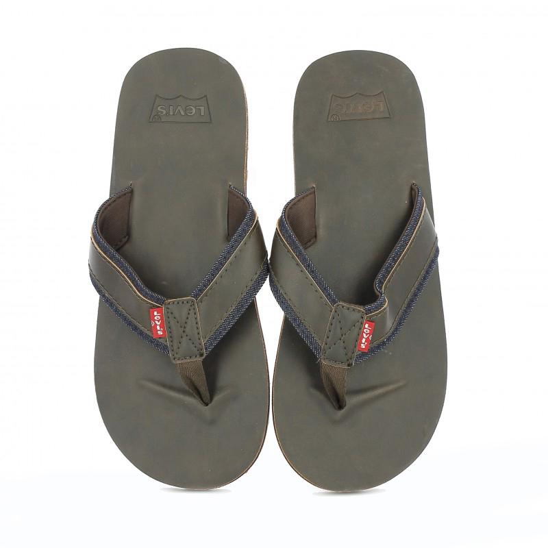 sandalias levis playeras de piel marron con ribete jeans - querol online