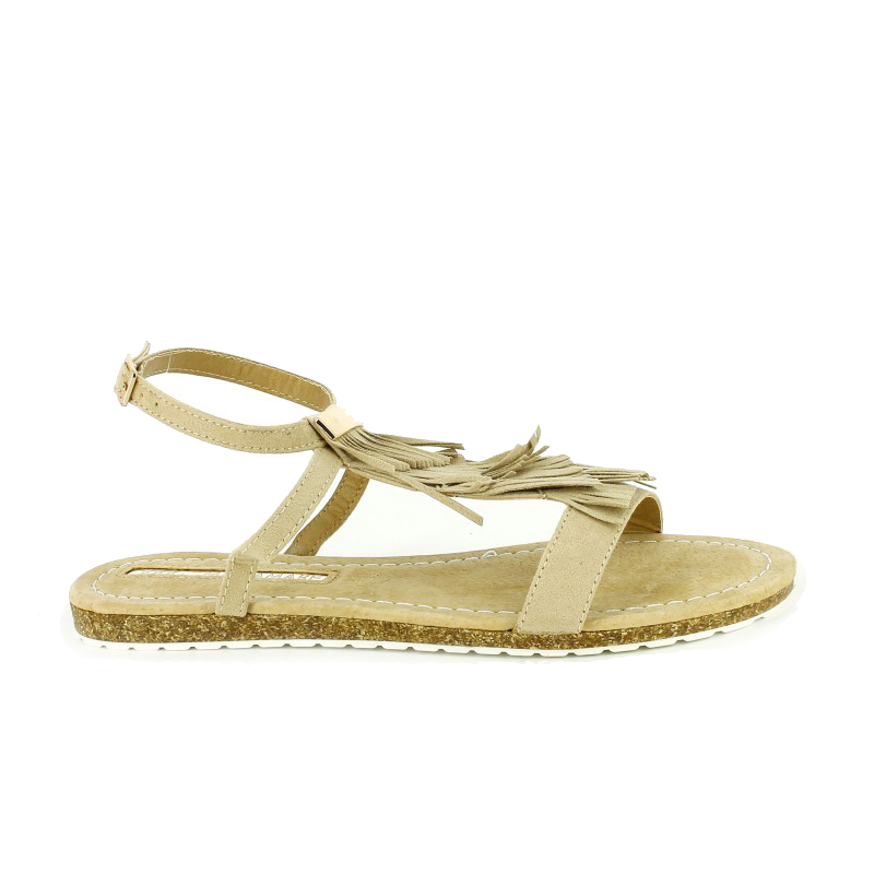 sandalias planas Maria Mare marrones con flecos - querol online
