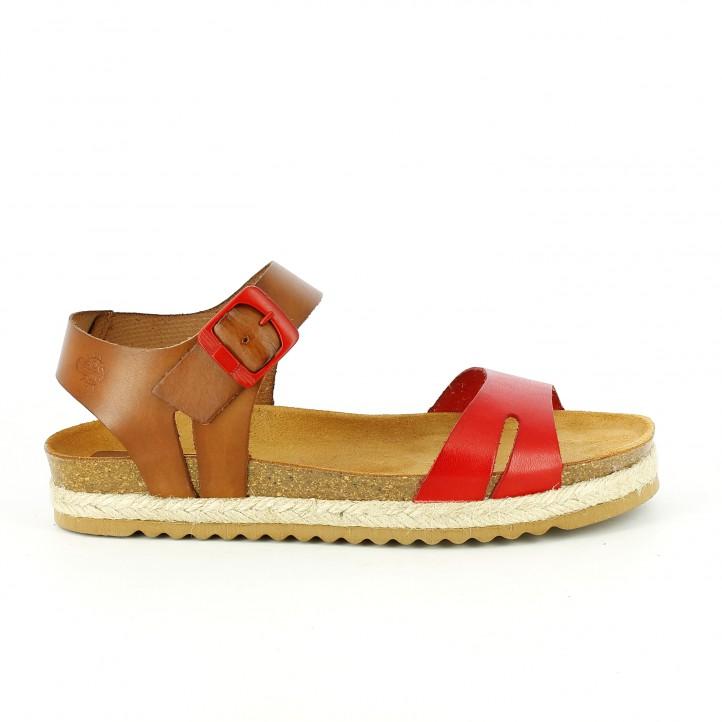 sandalias bio - sandalias-planas-yokono-rojas-y-marrones-de-piel