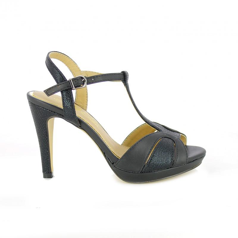 sandalias de fiesta alex silva negras - querol online