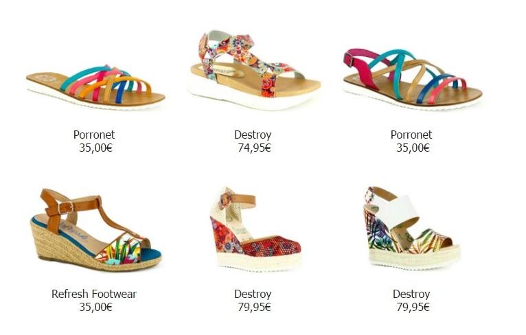 cuñas y sandalias tiras color en querol online