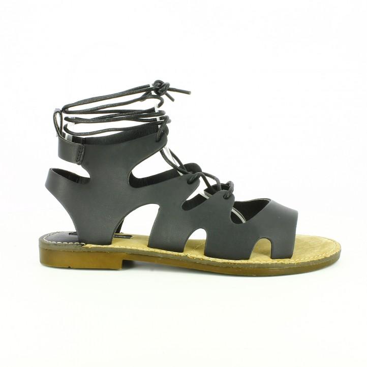 zapatos low cost sandalias romanas piel negra mustang - Querol Online