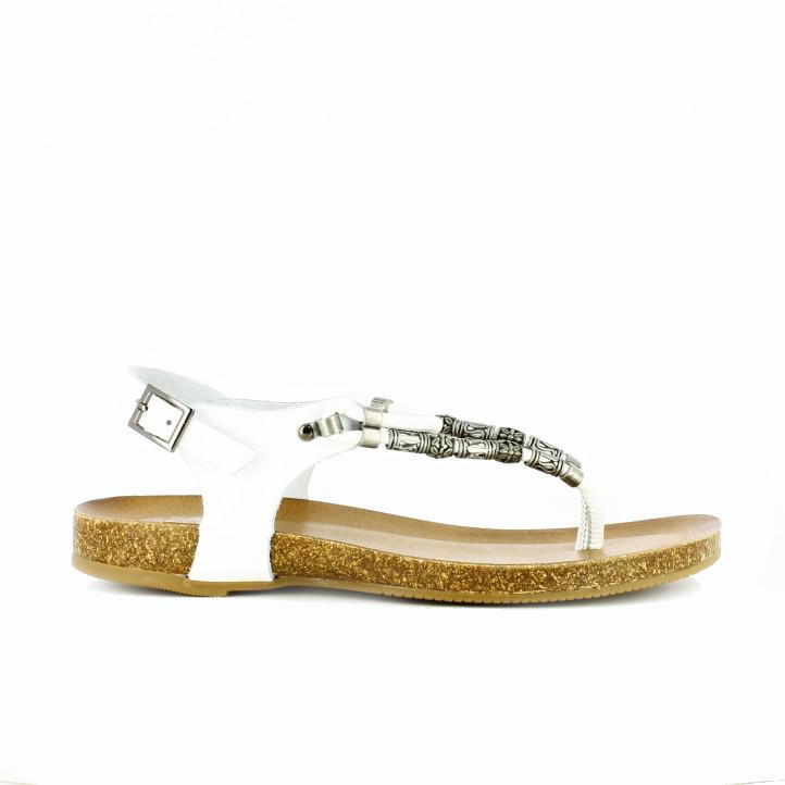sandalias planas tribal blancas porronet - Querol Online