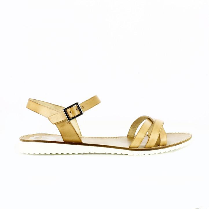 sandalias planas marrones suela blanca porronet - Querol Online