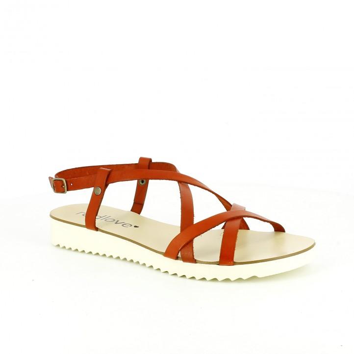 sandalias planas redlove con tiras rojas de piel
