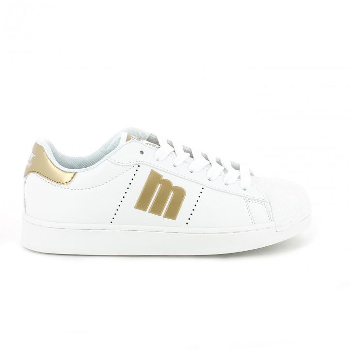 zapatillas mustang blancas logo dorado - Querol Online
