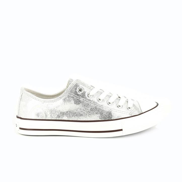 zapatillas tipo converse plateadas chika10 - querol online