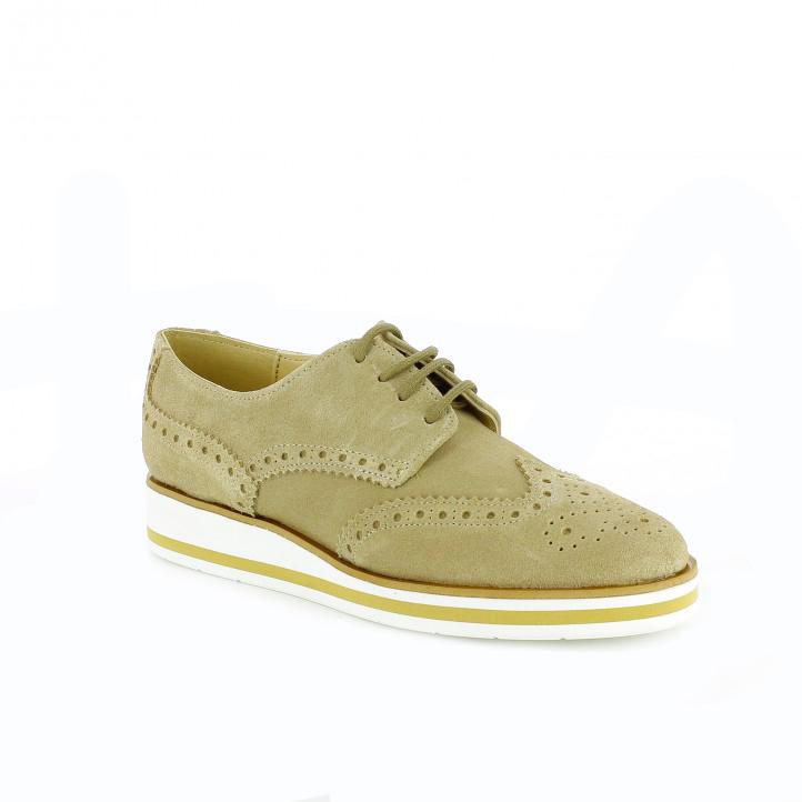 zapatos planos redlove bluchers marrones de piel