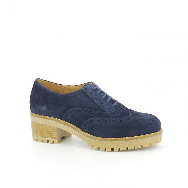 zapatos tacón redlove oxford piel azul marino