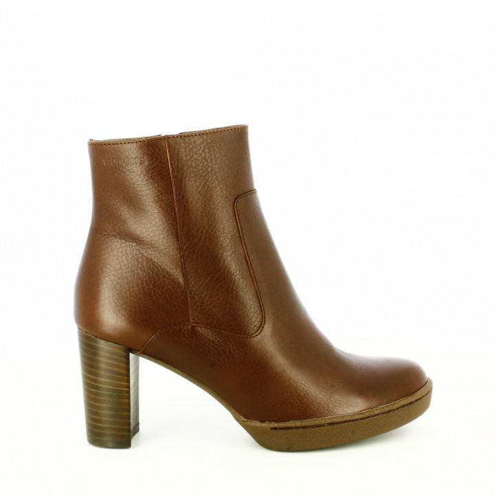cuidar los zapatos de piel /botines de tacón Wonders marrones de piel lisa / Querol Online