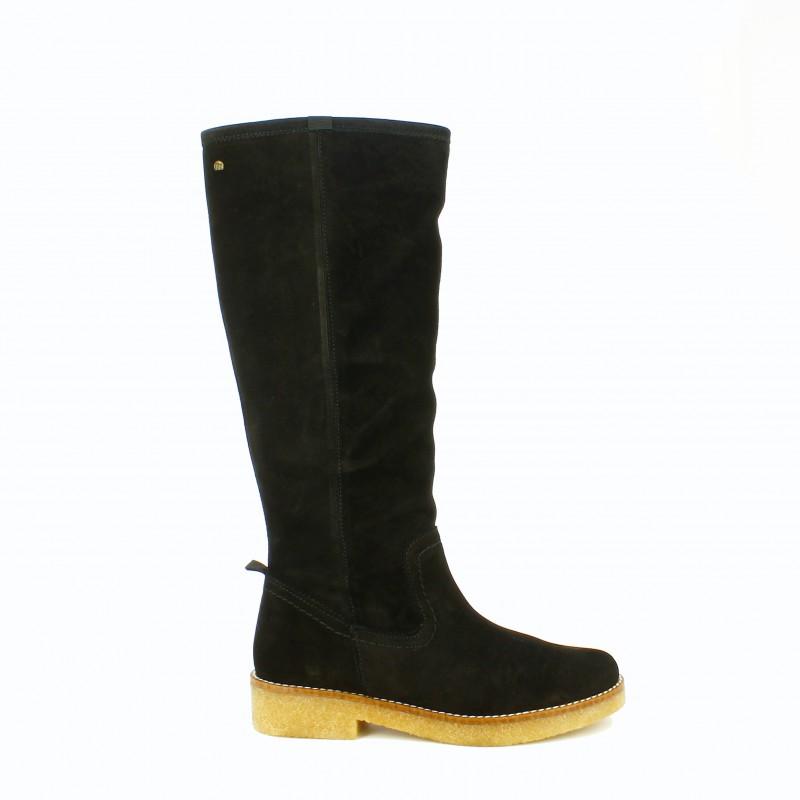 botas planas mustang negras de piel