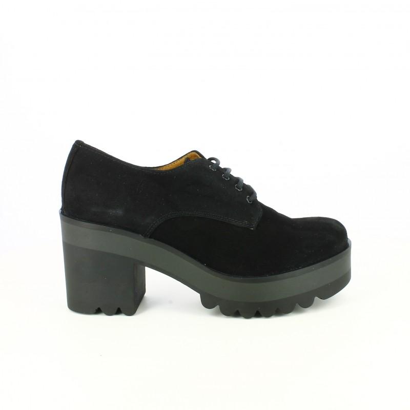 zapatos tacon redlove bluchers negros de piel