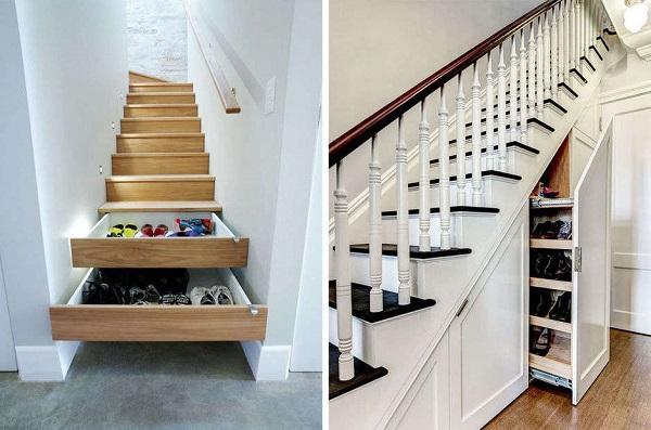 cajones secretos en las escaleras - cómo organizar zapatos