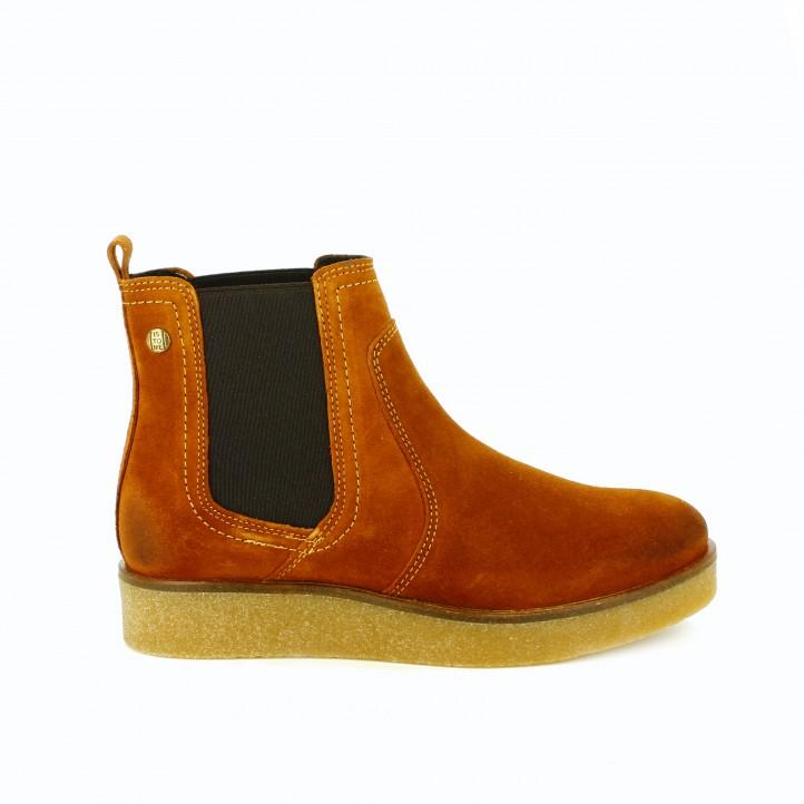 botines planos is to me chelsea marrones de piel - segundas rebajas de zapatos