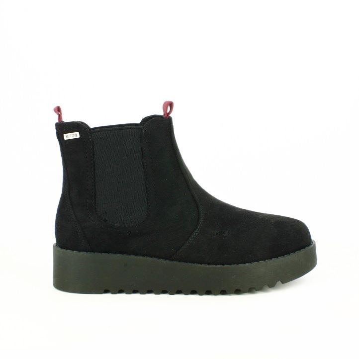 botines planos mustang chelsea negros con plataforma - segundas rebajas de zapatos