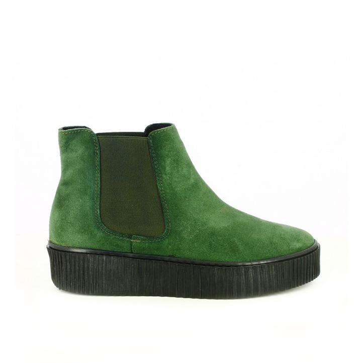 botines planos redlove chelsea verdes piel suela creeper - segundas rebajas de zapatos