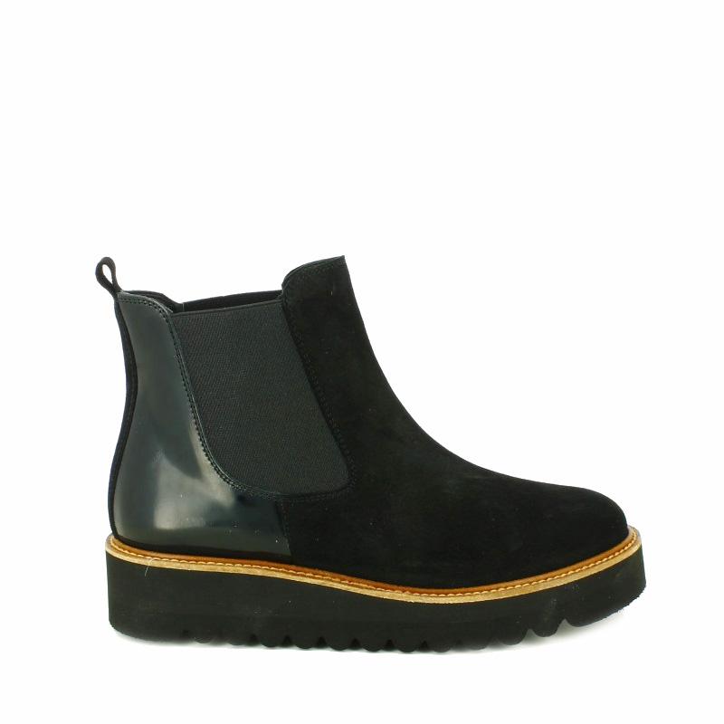 botines planos redlove negros de piel suela gruesa - segundas rebajas de zapatos