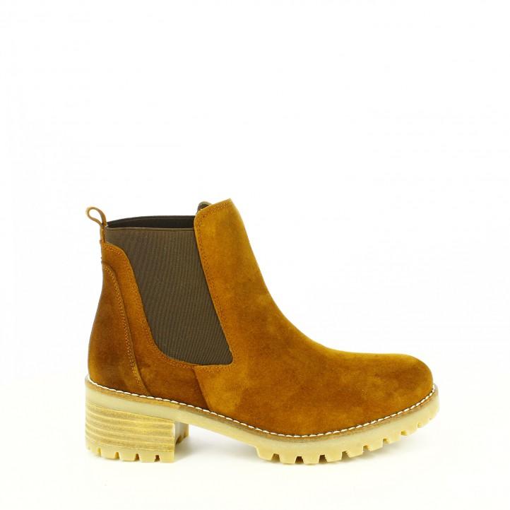botines tacon redlove chelsea marrones piel - segundas rebajas de zapatos