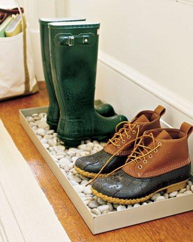 zapatero con piedras - cómo organizar zapatos