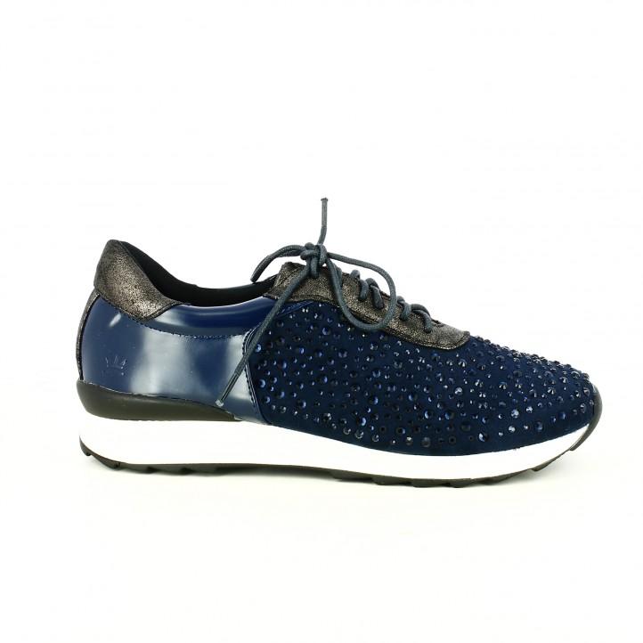 zapatillas deportivas francesco milano azules con brillantes y cordones - segundas rebajas de zapatos