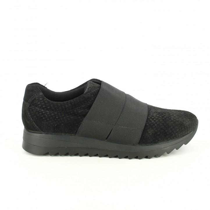 zapatillas deportivas imac negras de piel con gomas - segundas rebajas de zapatos
