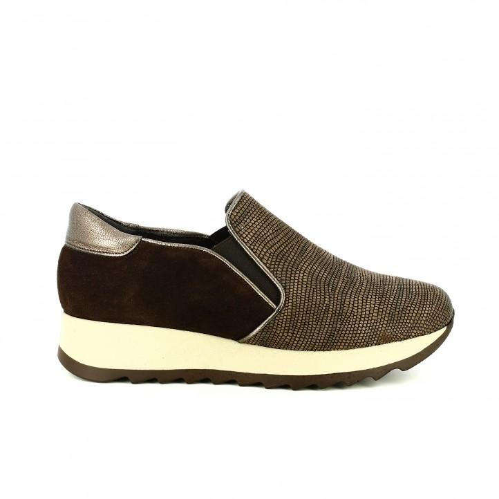 zapatillas deportivas lola torres slip on marrones de piel - segundas rebajas de zapatos