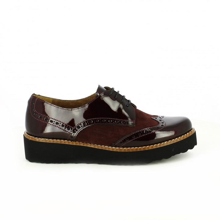 zapatos planos redlove bluchers burdeos con charol - segundas rebajas de zapatos