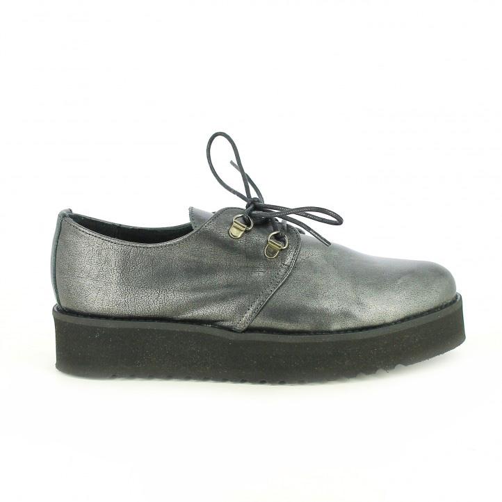 zapatos planos redlove bluchers plateados - segundas rebajas de zapatos