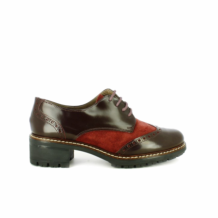 zapatos tacon redlove bluchers burdeos de piel con brogue - segundas rebajas de zapatos